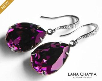 Amethyst Purple Crystal Earrings Swarovski Rhinestone Amethyst Silver CZ Earrings Purple Wedding Teardrop Earrings Wedding Jewelry Bridal