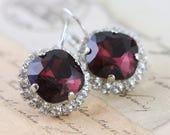 Burgundy Earrings Swarovski Crystal Earrings Maroon Bridesmaid Earrings Clip On Avail Maid of Honor Gift Silver Mother of Bride Gift