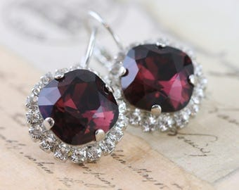 Burgundy Earrings Swarovski Crystal Earrings Maroon Bridesmaid Earrings Clip On Avail Maid of Honor Gift Silver Mother of Bride Gift