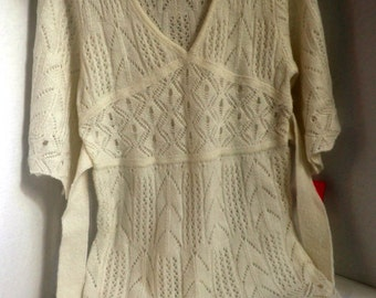 Lacey Ivory Sweater, tunic sweater with tie, size Women's small