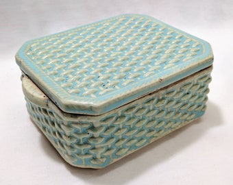 Vintage Basket Weave Pattern Stoneware Ceramic Covered Marked Dresser Box