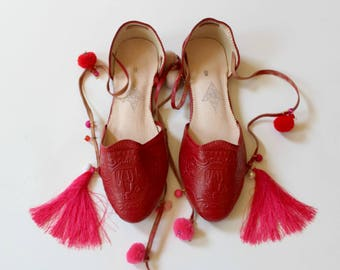 Boho leather flats women/red leather flats/greek shoes/pom pom leather ballet flats