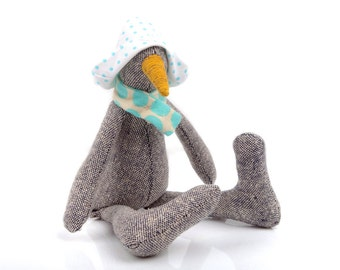 Baby Bird Doll , chick stuffed eco doll , handmade plushy , penguin doll , SMALL duck doll , woven silk geese doll , gray mustard turquoise