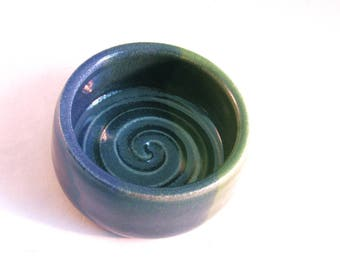 Blue & Green Shaving Bowl - Shave Mug - Handmade Pottery - Pottersong Pottery - Denim Jeans Blue - Bright Green - Gift for Him