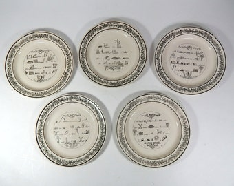 French Antique Plates Group of 5 Rebus Theme c.1830