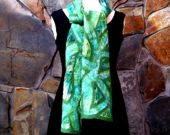 Abstract line design with green on hand dyed silk scarf, nuno felting