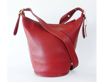 Coach Helen's Legacy Candy Apple Red Leather Crossbody Bucket Shoulder Bag