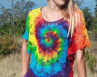 Tie Dye Crochet Top | Coverup