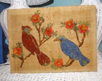 Vintage Gravel art on burlap, Charming Bird picture made of gravel