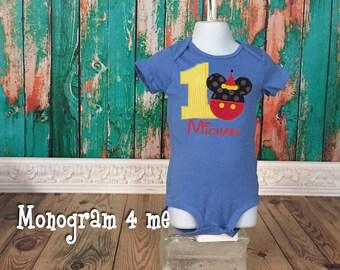 Mickey Mouse birthday shirt bodysuit - 1st Birthday Mickey Mouse - Disney Shirt Party Hat