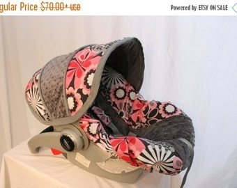 ON SALE Pink & Gray floral Infant car seat cover, girl baby seat cover, baby custom car seat cover - FREE reversible strap covers- Made to o