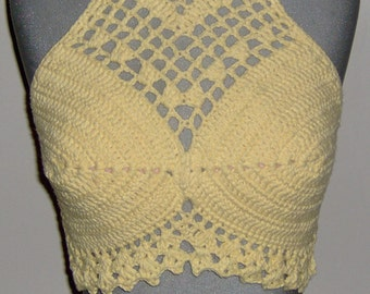 Crocheted yellow lacy halter top, bralette, bikini top, crop top, Swimwear, festival top.