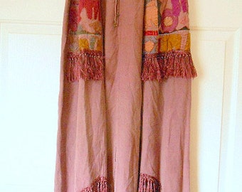 Vintage bohemian muted purple appliqued fringed Skirt