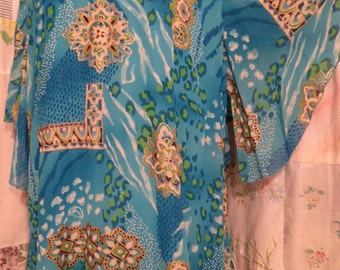 LARGE/XL, Dress, Maxi Boho Hippie Flowerchild  Aqua Bohemian Elegant Mandala Tall Long Wash and Wear Caftan