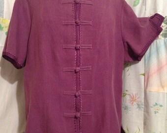 EXTRA LARGE, Top Oriental Asian Boho Bohemian Flowerchild Plum Purple Blouse