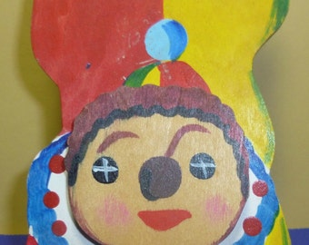 Vintage Hand Painted Whimsical Wooden Clown Decor, 1970s