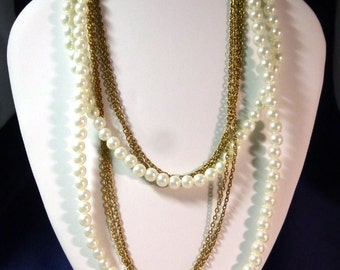 Long 3 Strand Vintage Necklace with Faux Pearl & Gold Tone Chain, 1970s