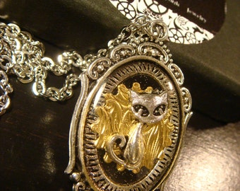 Steampunk Victorian Style Cat Pendant Necklace  (2232)