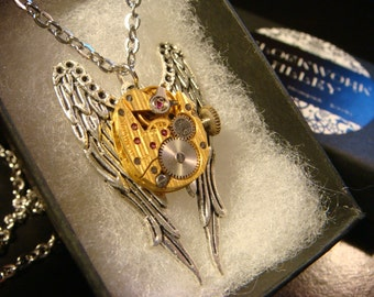 Time Fly's-  Watch Movement on Angel Wings Steampunk  Necklace (2238)