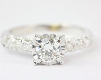 0.64cts 18K Antique Art Nouveau Engagement Ring, Old European Cut Diamond,  1900's Filigree Diamond Engagement Ring, Diamond Ring
