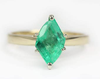 1.40cts Colombian Emerald & Gold Solitaire Ring 14k, Marquise Emerald Ring, Emerald Marquise, Emerald Solitaire Ring, May Birthstone Ring