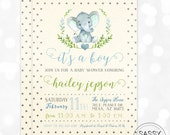 Elephant Boy Baby Shower Invitation Baby Boy Invite Watercolor Elephant Baby Shower Invite Polka Dot DIY Printable Invite PDF (#171)