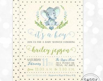 Elephant Boy Baby Shower Invitation Baby Boy Invite Watercolor Elephant Baby Shower Invite Polka Dot DIY Printable Invite PDF (#171)