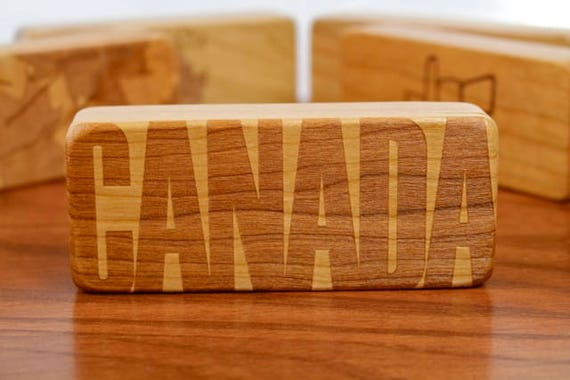 """Canada Themed Stash Box, 5"""" x 2"""" x 1"""", Solid Cherry, Rare Earth Magnets for closure and security, Canada 150, Paul Szewc, Masterpiece Laser"""