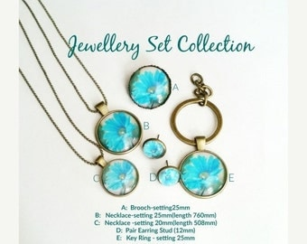 30OFF Xmas - Flowers Jewellery Set Collection, Earring Stud, Necklace, Brooch, Key Ring EN159