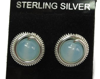 Aqua Chalcedony & Sterling Silver Coiled Post Stud Earrings