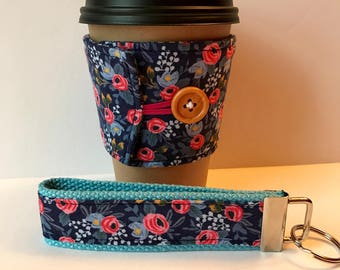 Floral Fabric Coffee Cozy and Wristlet Key Fob, Navy Blue Floral Set or Sold Individually