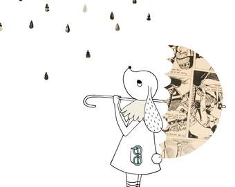 Print Bunny in the Rain - illustration A4   wall art, cute print, digital illustration, A4 poster, bunny print, kawaii, kids room decor