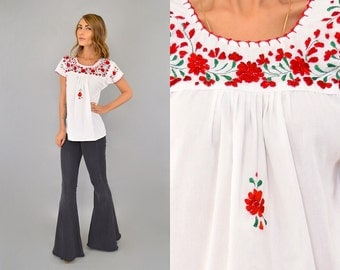 70's EMBROIDERED Mexican Top