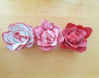 Rose Magnets Handmade from Recycled Materials Set of 3 HandPainted Red, White, Pink