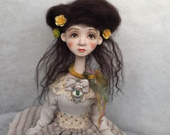 OOAK doll Eliza Art doll Collecting doll Clay doll Paper clay doll Human figure doll Air dry clay doll Decorative doll