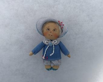 Art doll brooch mini doll brooch ooak doll brooch textile brooch primitive doll brooch