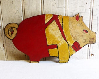 Vintage Pig Cutting Board - Handmade and Handpainted - Anthropomorphic Pig in Overalls - Farmhouse Chic