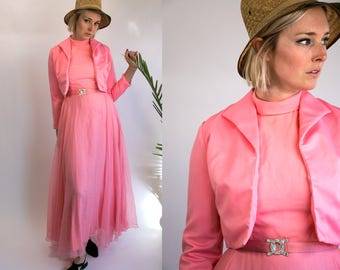 Vintage 60's Bubble Gum Pink Two Piece Maxi Dress with Matching Rhinestone Belt Costume Women's Size Medium Large High Fashion Hollywood