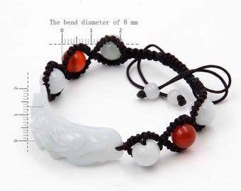 Handmade Jadeite And Agate Beads Adjustable Bracelet With Focal Natural Jadeite Pi Xiu Bead  T3362