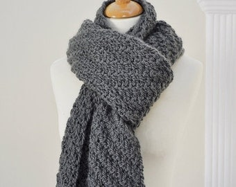On Sale Knit Super Scarf - Textured Knit Scarf - Moss Green Knitted Scarf - Alpaca Wool Scarf - Wide Long Scarf - Mens and Womens Knitwear