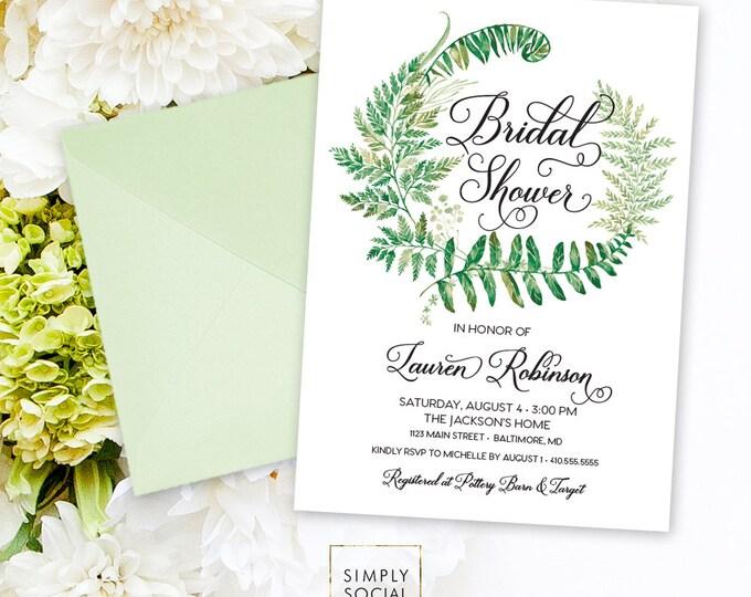 Fern Bridal Shower Invitation - Minimalist Invite Greenery Printable Bridal Shower Laurel Invitation Modern Calligraphy Watercolor Printable