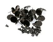 12mm Gunmetal Black Brass Earring Tray Settings, Earring Backs INCLUDED