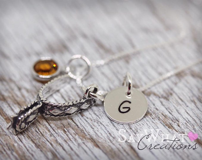 Sterling Silver Western Spur Charm Necklace with Mini Hand Stamped Initial and Birthstone for Cowgirls Cowboys