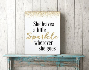 NEW She Leaves a Little Sparkle - Canvas -  girl bedroom art, bedroom canvas, baby nursery gift, child bedroom art