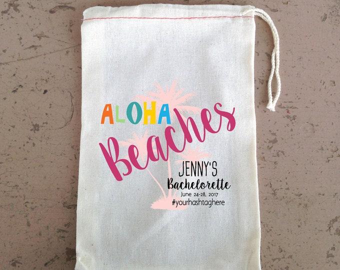 Aloha Beaches, Bachelorette Bag, Favor Bag, Wedding Party Bag, Bridesmaid gift bag, Cotton drawstring Bag