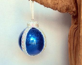 Blue Glitter Christmas Ornament