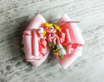 Multi Layered Pink Polymer Clay Little Mermaid Pink Hair Bow Barrette Clip M2M Custom Boutique