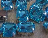 Sew On Rhinestones Crystal Aquamarine Blue DIY Emerald Princess Cut Rectangle 8mm x 10mm 4 hole Montee Acrylic Pronged Flat Back Beads