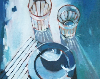 Caught the Light- Original Oil Painting // Still Life // Kitchen Decor