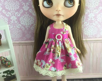 Blythe Party Dress - Hot Pink and Cream
